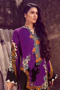 Gul Ahmed Printed Pashmina with emroidered neckline Purple 3 Pcs PSM-05