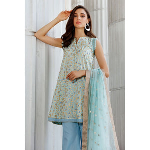 Gul Ahmed 3 PC Embroidered suit with Net Dupatta FE-330 B