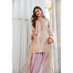 Gul Ahmed 3 PC Embroidered suit with Net Dupatta FE-330 A