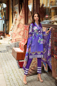 Purple 3 PC Digital Printed Satin Suit DCS-04 A
