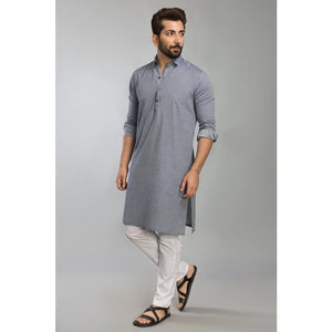 Gul Ahmed Ready to Wear Men Cotton jacquard Fashion Regular Fit Stitched Suit Blue SKS-145