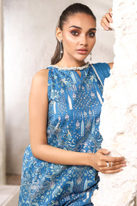 AL-KARAM STUDIO Spring Summer Vol 2(Duex) Three Piece Printed Suit With Chiffon Dupatta SS-10.1-20-2-Blue