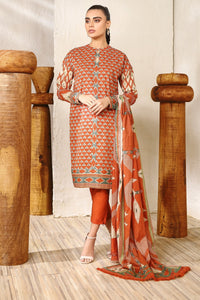 AL-KARAM STUDIO Spring Summer Vol 2(Duex) Three Piece Printed Suit With Brochia Dupatta SS-15.1-20-2-Orange
