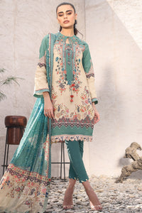 AL-KARAM STUDIO Spring Summer Vol 2(Duex) Three Piece Printed Suit With Printed Silk Dupatta SS-6-20-2-Green