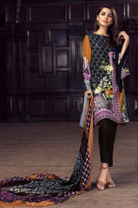 Gul Ahmed Printed Silk Unstitched 3 Piece Suit Black SW-43