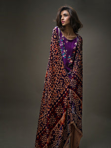 Gul Ahmed Silk Velvet Dress VL-36 - PURPLE