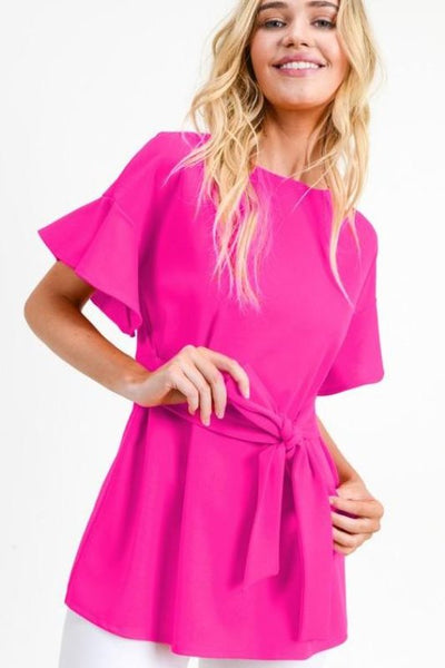 Short Tiered Sleeve With Self-Tie Waist