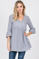 Gingham Babydoll Tunic with Bell Sleeves - The Pink Petal Boutique