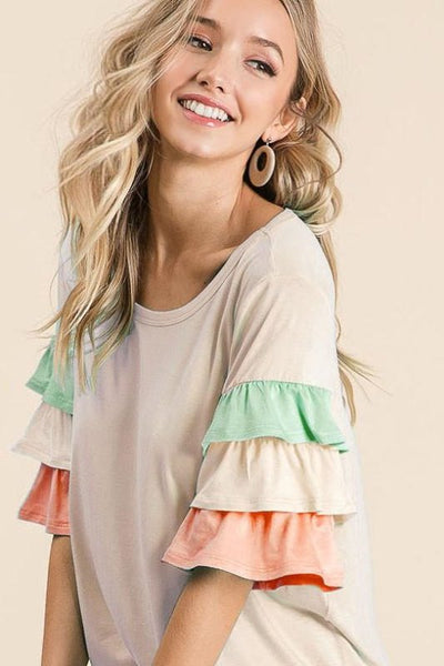 JERSEY KNIT TOP WITH TIERED SLEEVES