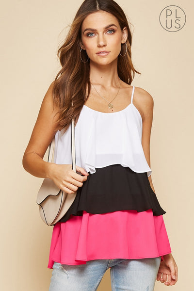 Color Block Tiered Top - The Pink Petal Boutique
