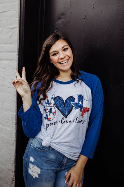 Peace Love Texas Raglan