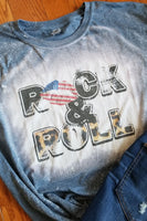 Rock and Roll Bleached Graphic T-Shirt