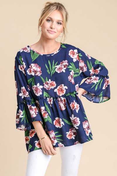 Woven Floral Babydoll Top with Ruffled Sleeves - The Pink Petal Boutique