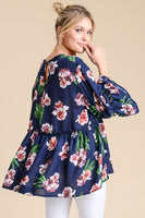 Woven Floral Babydoll Top with Ruffled Sleeves