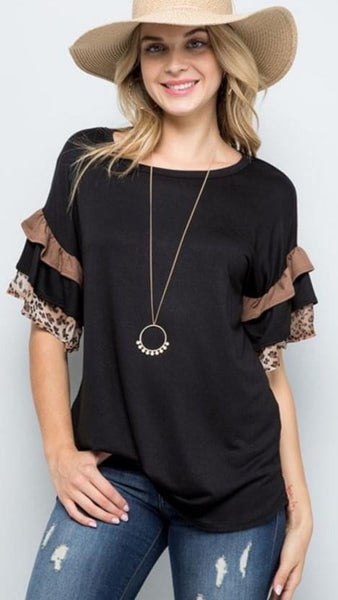 Ruffle Sleeve Top with Leopard