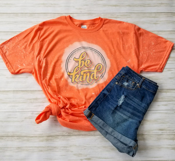 Be Kind Orange Bleached Graphic T-Shirt - The Pink Petal Boutique