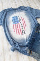 Blue USA Flag Faith Bleached Graphic T-shirt - The Pink Petal Boutique