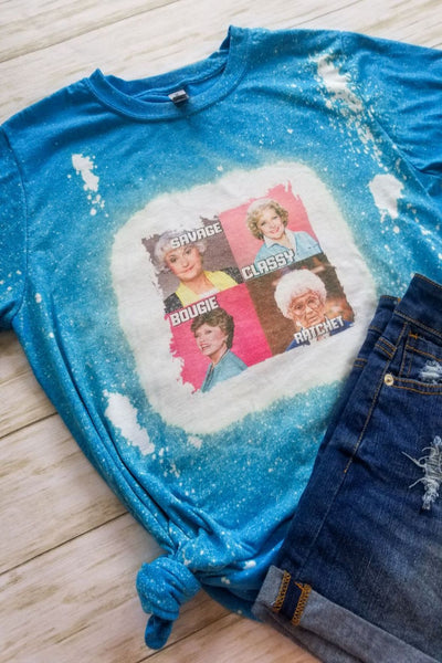 Blue Golden Girls Bleached Graphic T-shirt - The Pink Petal Boutique