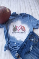 Peace Love Football Bleached Graphic T-shirt - The Pink Petal Boutique