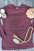 Bonfires & Pumpkins Maroon Long Sleeve Tee