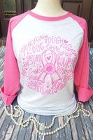 Pink and White Ragland Breast Cancer Pink Ribbon