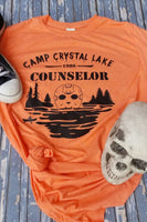 Camp Crystal Lake Counselor Orange Tee