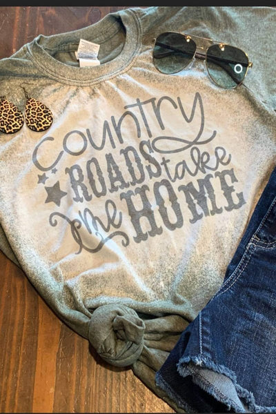 Country Roads Take Me Home Bleached Graphic T-Shirt