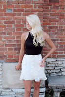 Cream Embellished Skirt with Ruffle Hem - The Pink Petal Boutique