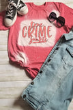 True Crime Junkie Bleached Graphic T-Shirt - The Pink Petal Boutique