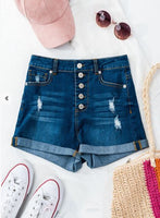 Dark Denim Multi Button High Waisted Folded Hem Distressed Shorts - The Pink Petal Boutique