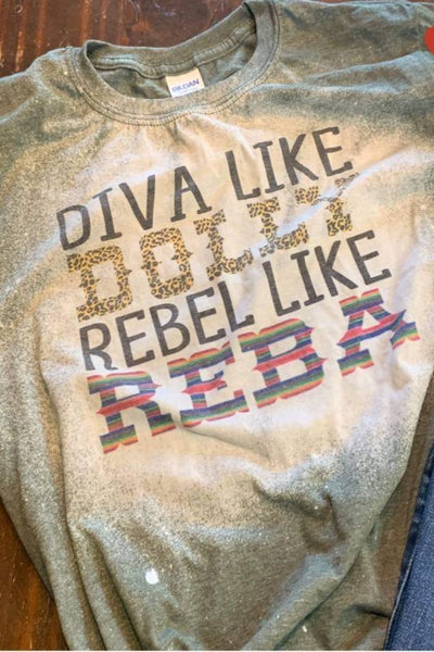 Diva Like Dolly Rebel Like Reba Bleached Graphic T-Shirt - The Pink Petal Boutique