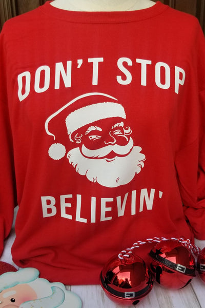 Don't Stop Believin' Santa Claus Red Tee