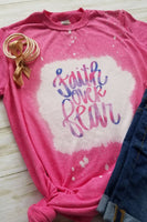 Faith Over Fear Pink Bleached Graphic T-Shirt - The Pink Petal Boutique