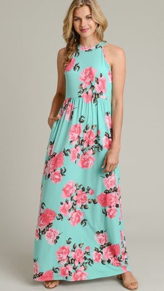 Floral Maxi Dress With Pockets - The Pink Petal Boutique