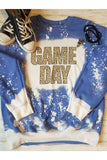 Blue Leopard Print Game Day Bleached Sweatshirt - The Pink Petal Boutique