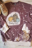 Happy Fall Heather Maroon Bleached Sweatshirt - The Pink Petal Boutique