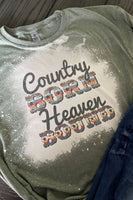 Country Born Heaven Bound Bleached Graphic T-Shirt