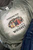 Chasing You Like A Shot Of Whiskey Bleached Graphic T-Shirt