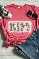 Red KISS Bleached Graphic T-Shirt - The Pink Petal Boutique