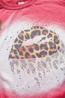 Red Leopard Print Lips Bleached Graphic T-Shirt - The Pink Petal Boutique