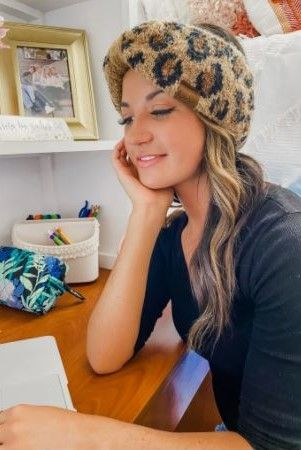 CC Leopard Boucle Knit Head Wrap - Latte