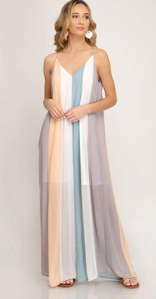 Peach/Gray Color Block Maxi Dress with Lining - The Pink Petal Boutique