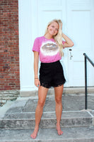 Black Textured Shorts with Layered Tier Hem - The Pink Petal Boutique