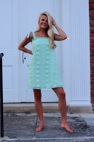 Mint Floral Embellished Tank Dress - The Pink Petal Boutique