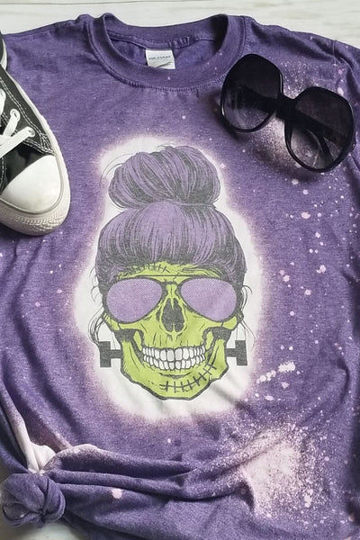 Mrs Frankenstein Bleached Graphic T-Shirt - The Pink Petal Boutique