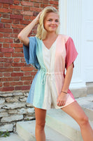 Multi-Color Block V-Neck Romper - The Pink Petal Boutique