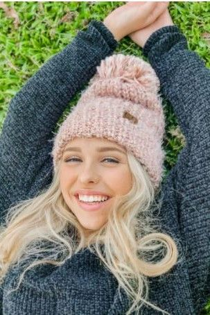 CC Multi Color Feather Knit Pom Beanie Ivory