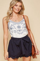 Navy Blue Tiered Shorts - The Pink Petal Boutique