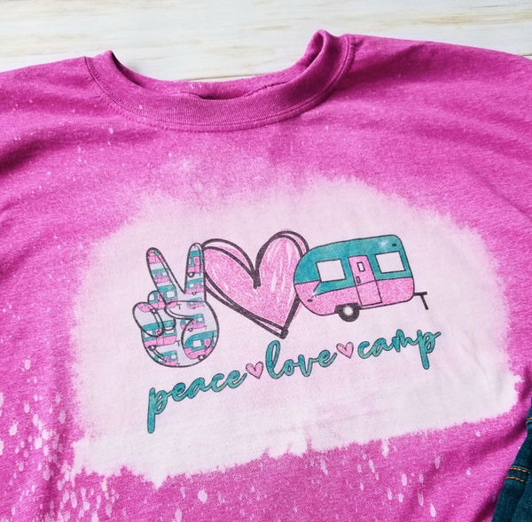 Peace Love Camp Pink Bleached Graphic T-Shirt - The Pink Petal Boutique