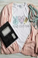 Peace Love Teach Graphic T-shirt - The Pink Petal Boutique